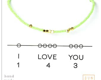 I Love You  Bracelet - Friendship Seed Bead Bracelet -Bestie Bracelet, Gifts for her, Bridal party gift - Mint
