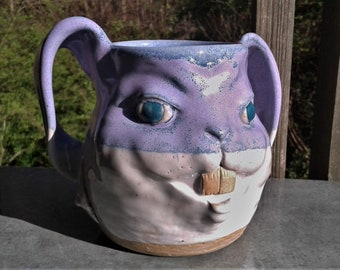 MUG: 24 fl. oz. Rabbit Face Mug | Wheel Thrown Hand Sculpted Stoneware Pottery | Purple and White Double Handle Bunny Face Mug
