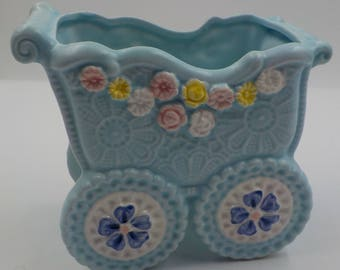Vintage Napco Ware Baby Planter - Baby Buggy Planter - Blue - flowers - Porcelain - Collectible - 1950 Era