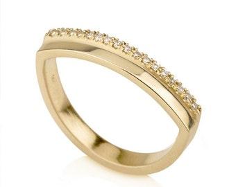Penelope Ring, minimalistic pave diamonds ring,multi stone ring, yellow gold engagement ring, diamond wedding band, unique wedding band