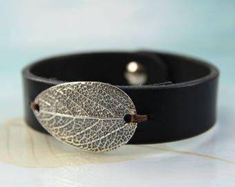 Silver Leaf Bracelet   Sage Leaf - Leather Bracelet   Men Leather bracelet Women   Leather Cuff