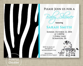 Zebra Baby Shower Invitation Aqua Blue Zebra  Zebra Stripes Birthday Party Invitation 5x7 Customized Kids Party Printable Invite (5)