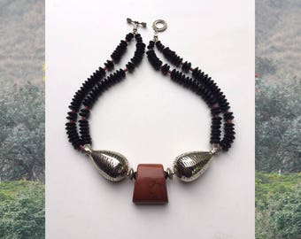 Elephant's Tears: Agate, palm wood, silver wash. Necklace and earring set.