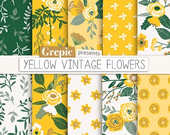 "Summer digital paper: ""YELLOW VINTAGE FLOWERS"" hand drawn, patterns, floral background, yellow flowers, flower pattern, green, floral, rose"