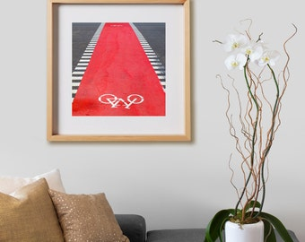 Bike Path Print.  Urban photography, Barcelona, red bicycle, decor, wall art, artwork, large format photo.