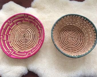 pair of vintage coiled basket / pink & green