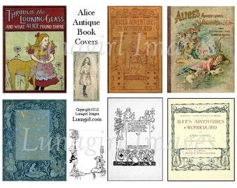 ALICE in WONDERLAND digital collage sheet Victorian vintage images art illustration antique book covers fairy tale altered ephemera DOWNLOAD