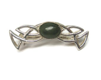 Vintage Sterling Celtic Jade Brooch