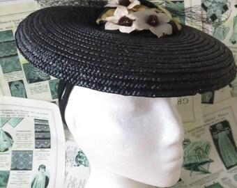 Unused Vintage 1930's Black Straw Tilt Hat