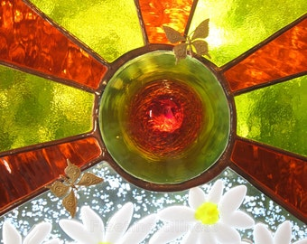 Sunny Daisies Stained Glass Window Panel Yellow Orange White Summer Sunshine