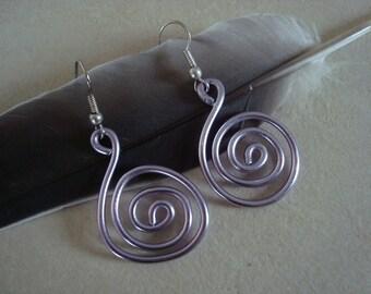 Purple aluminum Wire Earrings
