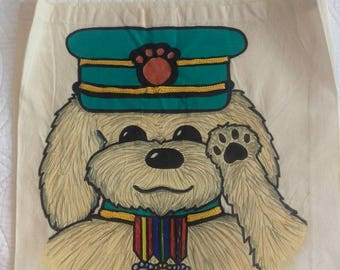 hand painted military dog tote bag