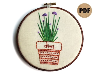 Chive Embroidery Design, Plant Art, PDF Embroidery Pattern, Food Art, Creative Gift, Potted Herbs, Plant Lady, DIY Crafts, Digital Download
