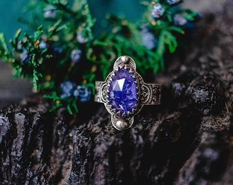 Rings, Boho Jewelry, Boho Ring, Silver Boho Ring, Tanzanite Ring, Sterling Ring, Bohemian Ring, Silversmith Ring, Raw Stone Ring