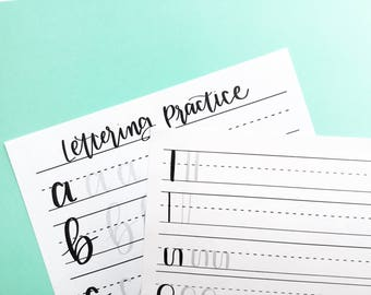 Hand Lettering Practice Sheets, Learn Hand Lettering, Hand Lettering Worksheets, Hand Lettering Alphabet Sheets, Hand Lettering Practice