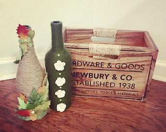 Fall Wine Bottles - Twine Wrapped Wine Bottles - Rustic Home Decor - Centerpiece - Entryway Decor - Fall Decor - Autumn Decor