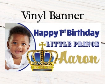 First Birthday Prince Personalized Banner, Royal Birthday Large Banner- Custom Banner