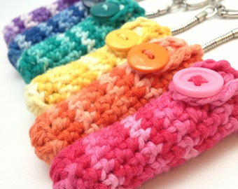 Crochet Keychain Lip Balm Holder - Choose from 9 Variegated Colors