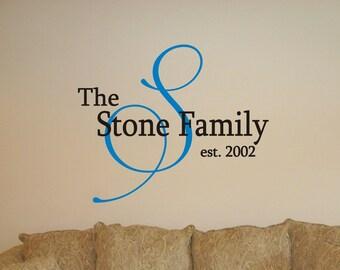 Family Monogram wall custom decoration-vinyl art