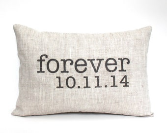 "wedding gift, engagement pillow, date pillow, anniversary gift, wedding shower gift, valentine - ""The Forever"""
