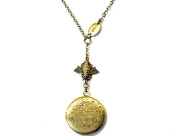Victorian Bee Locket necklace lariat with custom initial personalized rustic