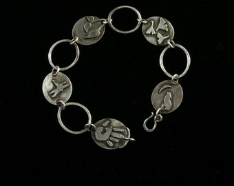 Sterling Silver Handcuts Bracelet, Size LARGE, Handmade, Hand Pierced, Artisan Jewelry