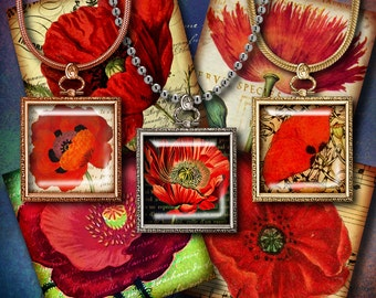 VINTAGE POPPIES on antique writing & music sheet - Digital Collage Sheet - Squares 1.5 inch or 1 inch or 0.875 inch - Buy 3 Get 1 Extra Free