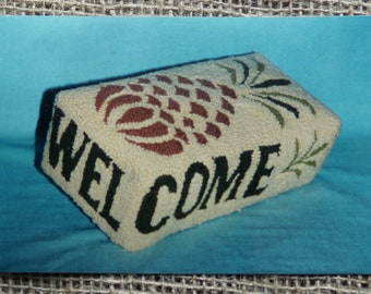 Rug Hooking stamped backing: Welcome Brick cover on burlap or linen