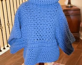 Blue Cowl BOHO Crochet Sweater/ Accessory/ Winter wear/ Birthday Gift/ Christmas Gift/ Gift for Her/ Gift for Mom/ Girlfriend