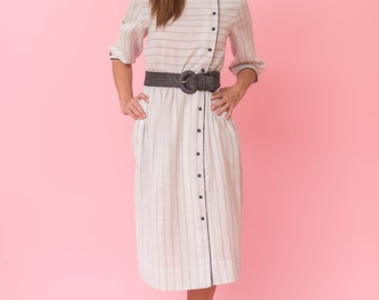 Vintage Oatmeal And Black Striped Day Dress (Size Medium/Large)