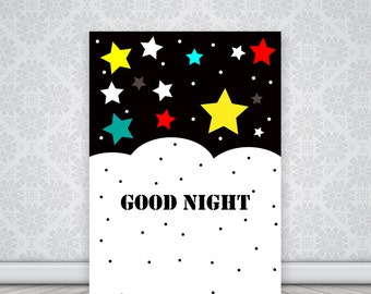 Good Night Print, Stars Print, Illustration print, printable quote, Shpirulina , Black and white print, Nursery Art, Bedroom Print, Nursery