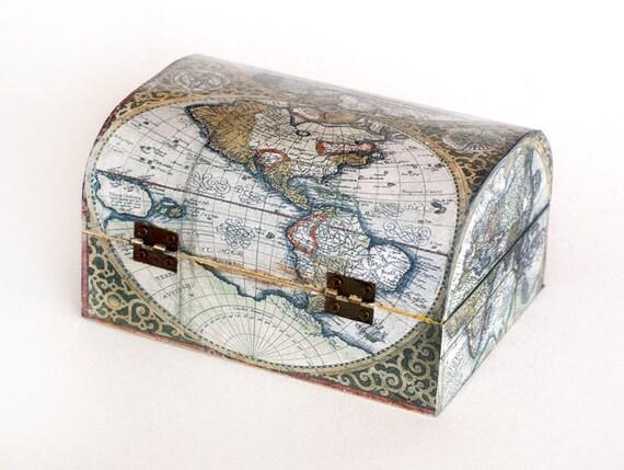 Jewelry storage decoupage jewelry box wooden memory box jewelry storage decoupage jewelry box wooden memory box decorative box vintage world map box keepsake box treasury chest gumiabroncs Image collections