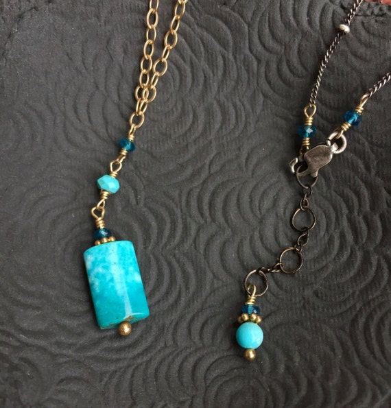 Turquoise Pendant Necklace Y Necklace Mixed Metal Neon Apatite Silver and Gold December Birthstone Kingman Turquoise Pendant