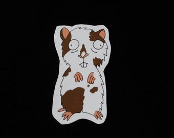 Brown and white Hamster - sticker