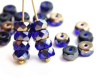 6x3mm Dark Blue Rondelle beads, Bronze luster fire polished czech glass faceted spacers - 25Pc - 1360