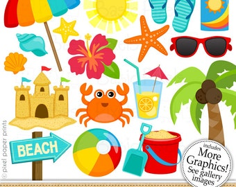 Beach Clipart - Digital Clip Art - Personal and commercial use