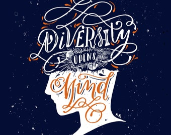 Diversity, Quote wall art, Quote poster, Wall art print, Office art, Wall print, illustration prints, Lettering art, Typography print, 8x10