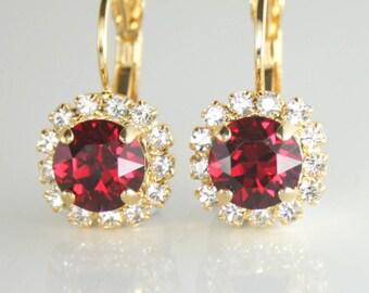 Ruby crystal earrings,Red crystal earrings,Ruby bridal earrings,Ruby Bridesmaid earrings,Red wedding jewelry,Red earrings,Ruby birthstone