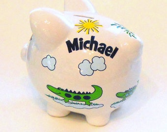Personalized Piggy Bank Navy and Green Alligators