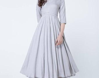 light grey dress, linen dress, maxi dress, V neck dress, elbow length sleeves, pleated dress, summer dress, prom dress, flare dress 1731