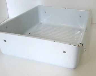 Vintage Enamel Storage Bin Basket Drawer Refrigerator Drawer Enamelware