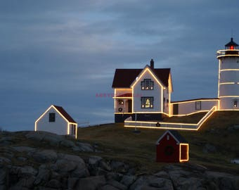 Cape Neddick  (Nubble) Light  with Christmas lights 5x7 photo greeting card, blank inside. card stock acts a mat, place inside 5x7 frame