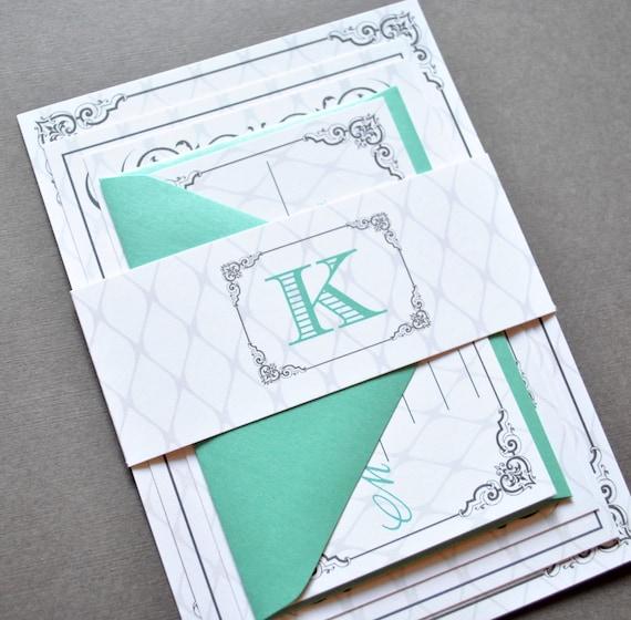 Tiffany Wedding Invitations: Items Similar To Mint Green Wedding Invitations, Teal
