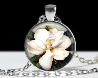 Magnolia Flower Jewelry Magnolia Necklace Wearable Art Pendant Charm