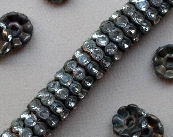 10 mm Vintage Brass Rhinestone Rondelle Beads 20 Pieces