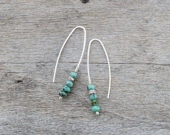 Threader Earrings, Jewelry Set, Pull Through Earrings, African Turquoise Earrings with Hill Tribe Silver Beads, Gemstone Earrings, Bohemian