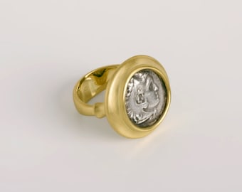 Men Ancient Coin Ring, Unique Mens Jewelry, Great Alexander Coin Ring, Size 7.25 Greek Mens Ring 18k Gold Antique Ring