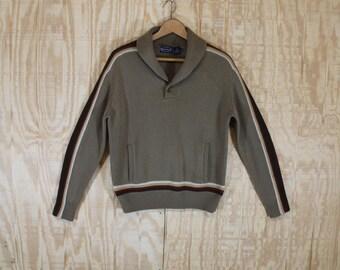 Vintage 1970's Carlo Rossi Tan Kangaroo Pocket Shawl Collar Stripe Knit Sweater Jumper Medium M