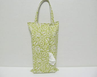 Hanging Tissue Box Cover For Skinny Kleenex/White Flower