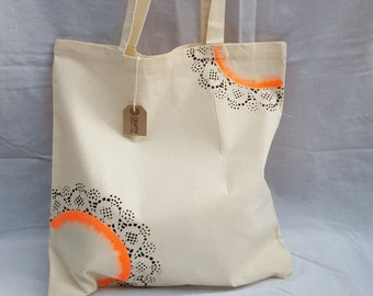 Natural Cotton Tote Shopping Bag With Handmade Orange Black Stencil Design Reusable Eco Friendly Shopper Farmers Market Bag